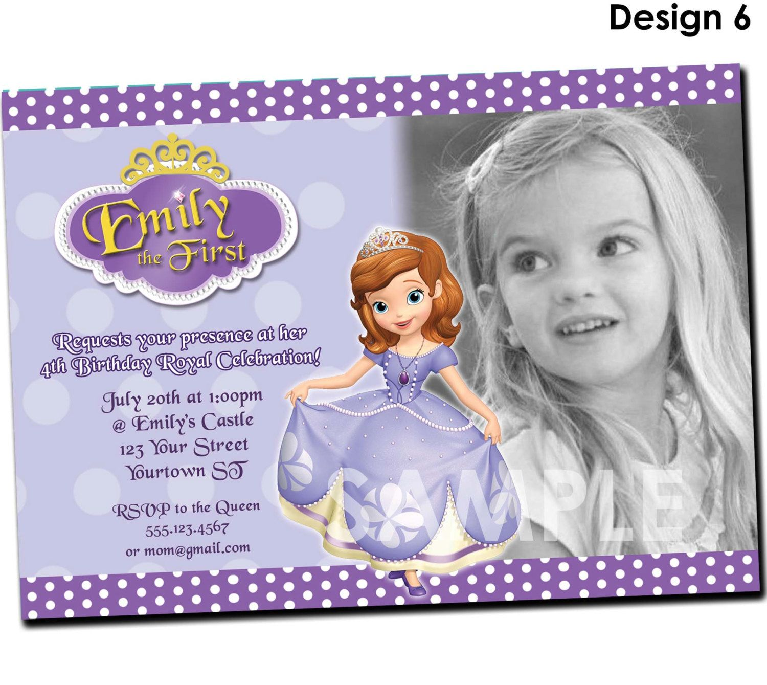 Sofia the First Invitation Printable Birthday Party Invite