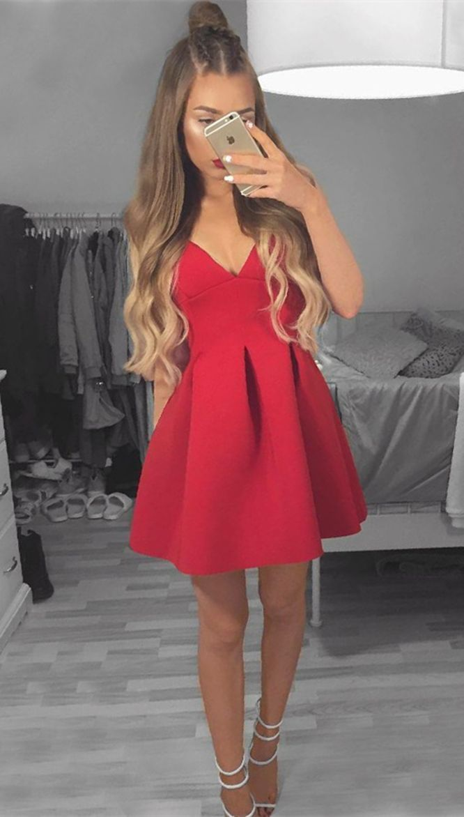 A Line Deep V Neck Red Satin Short Homecoming Dress With Pleats