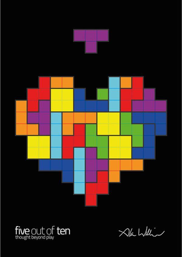 Tetris art heart perspektive geometrie und n hen for Sofa zeichnen fluchtpunkt