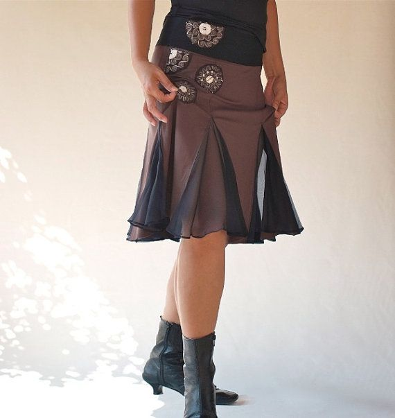 Chocolate wrap skirt/ Hand made applique Skirt / Knee by Danideng, $69.00