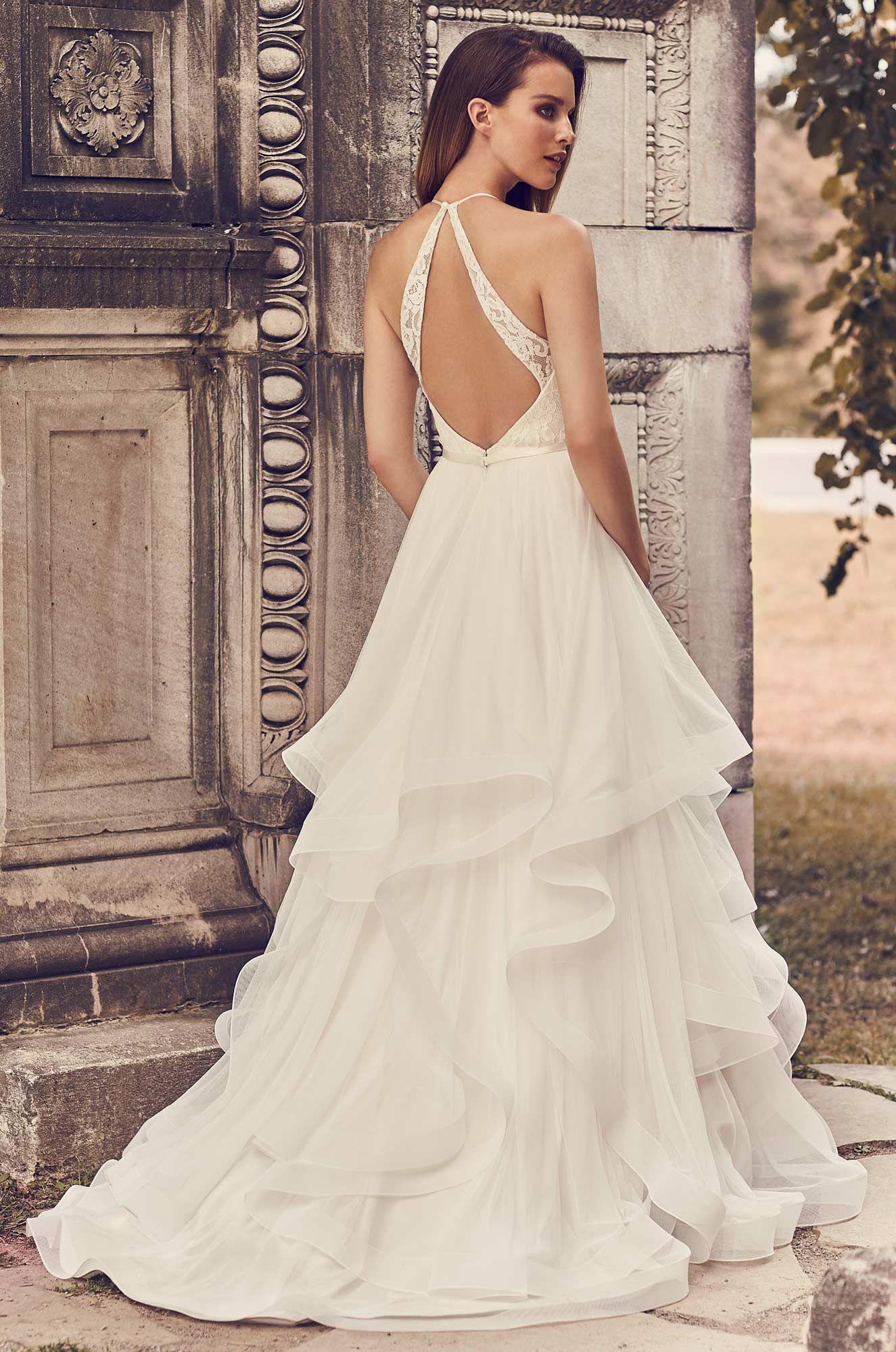 Tulle Skirt Halter Neckline Wedding Dress Style 2241