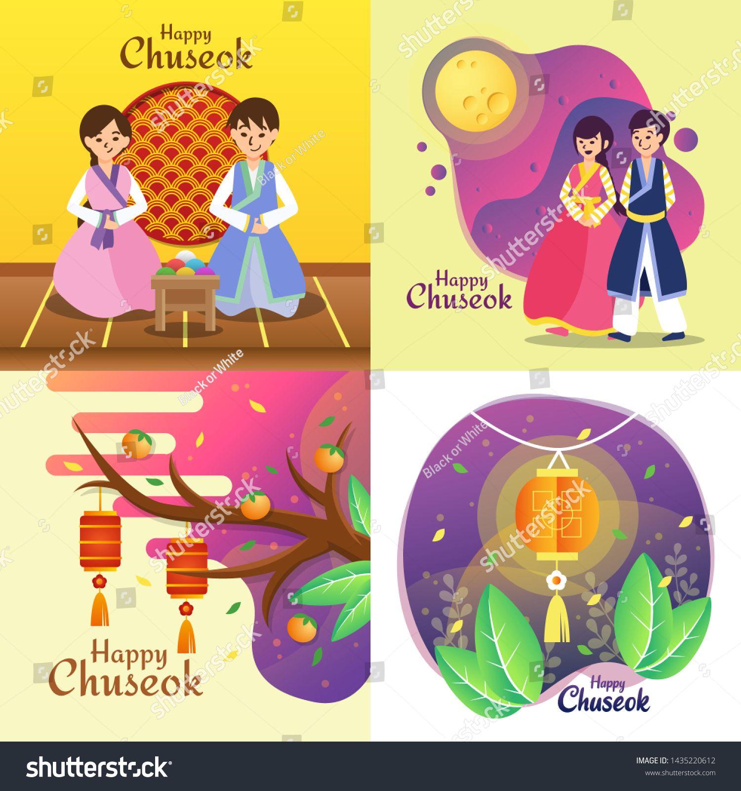 Happy Chuseok Day Korean Holiday Harvest Festival Vector Illustration Ad Sponsored Day Korean Happy In 2020 Korean Holidays Vector Illustration Harvest Festival
