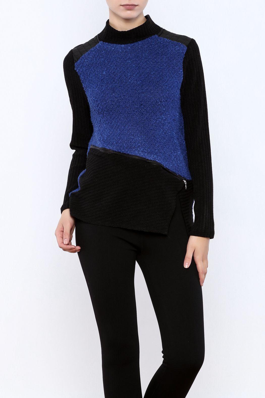 Zoe Blue Black Sweater | Royal blue and Shoulder