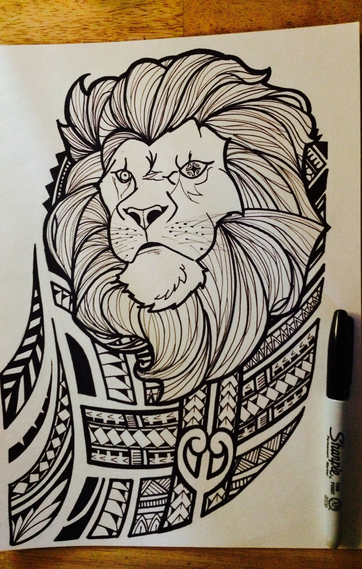 lion with polynesian tribal joel jalayahay art polynesian. Black Bedroom Furniture Sets. Home Design Ideas