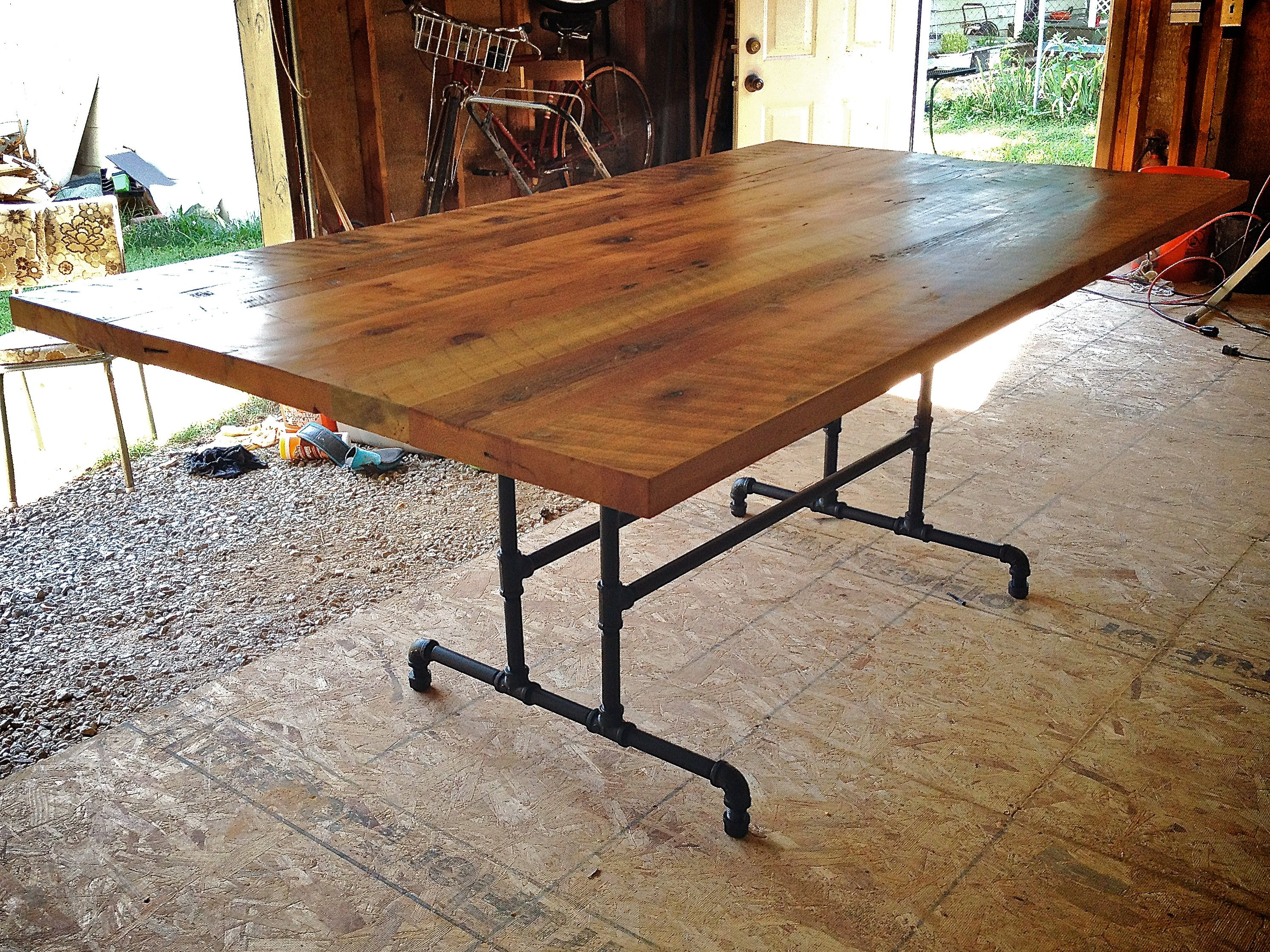 Furniture Custom Diy Large Farmhouse Dining Table With Solid Wooden Top And Black Iron Pipe Base Legs Ideas