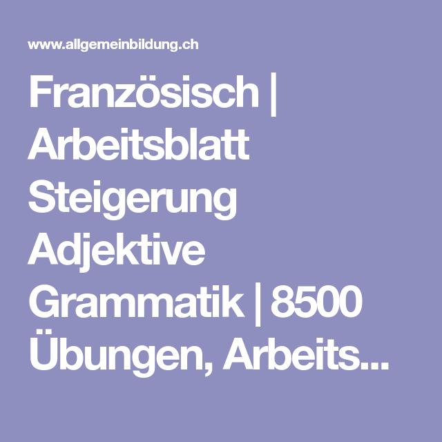 Französisch | Arbeitsblatt Steigerung Adjektive Grammatik | 8500 ...