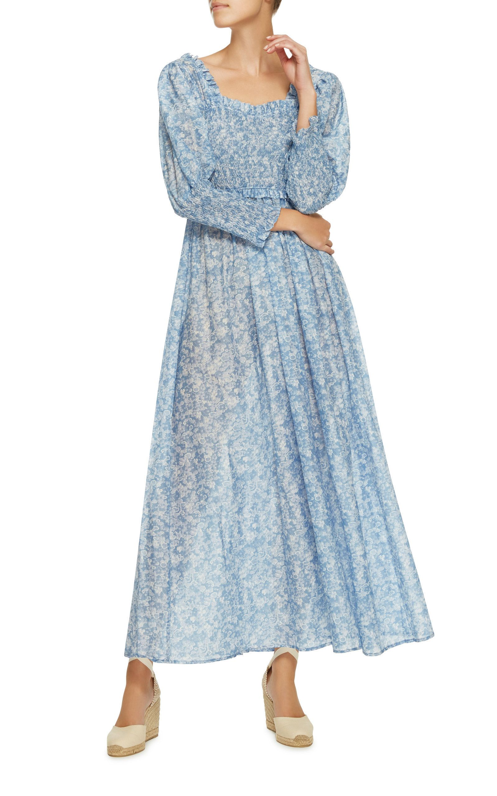 5697365cb8 Linaria Smocked Floral Maxi Dress by GANNI Now Available on Moda Operandi
