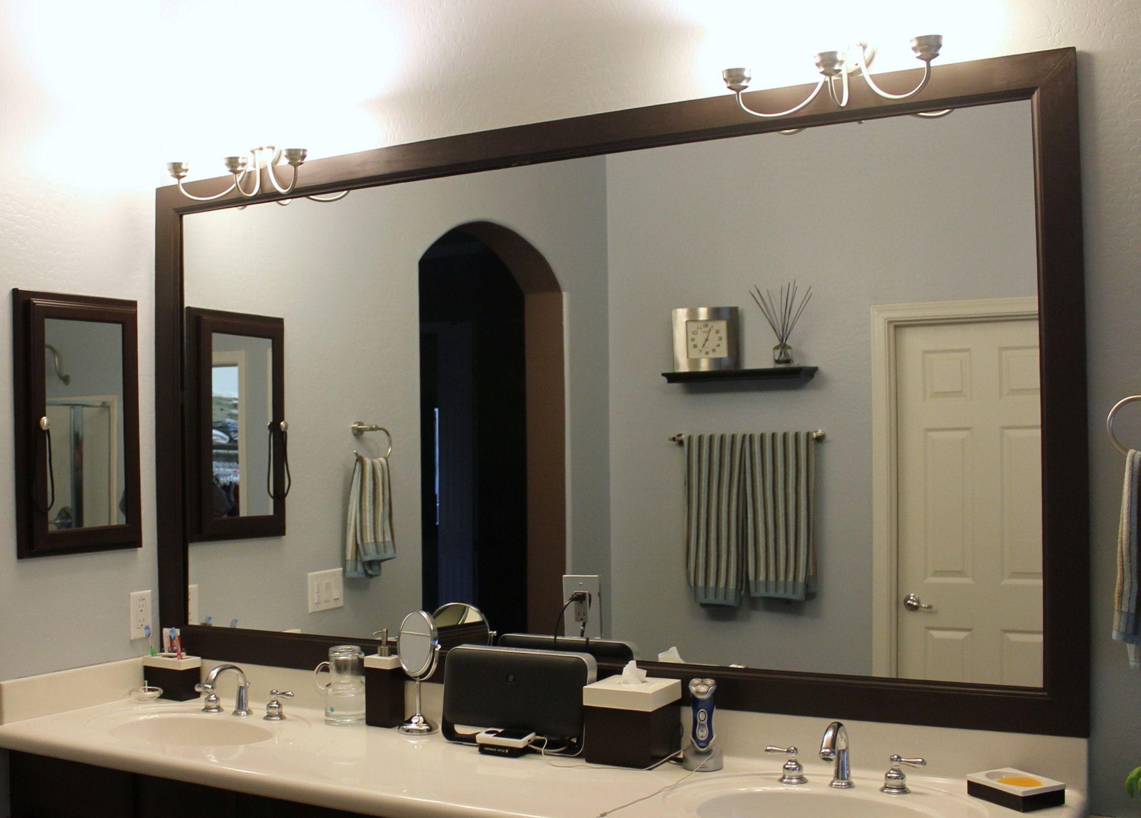 Unusual Framing Bathroom Mirror Diy Along With Framing A Bathroom