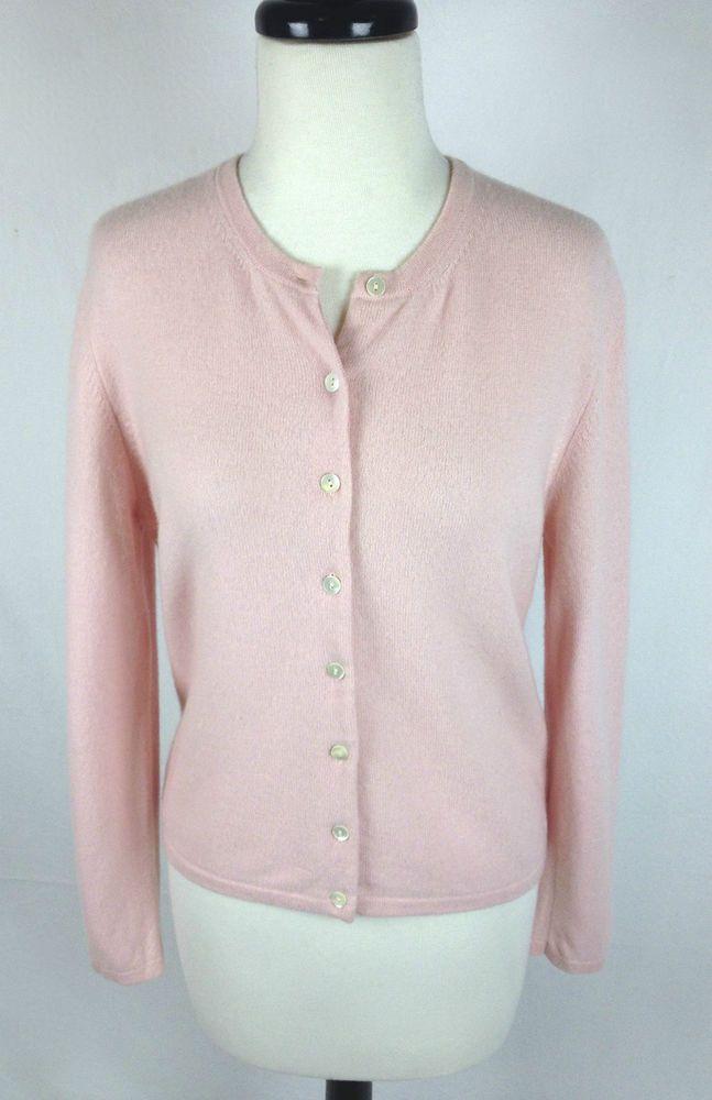 Valerie Stevens Sweater Cashmere Womens Pink Long Sleeve Cardigan ...
