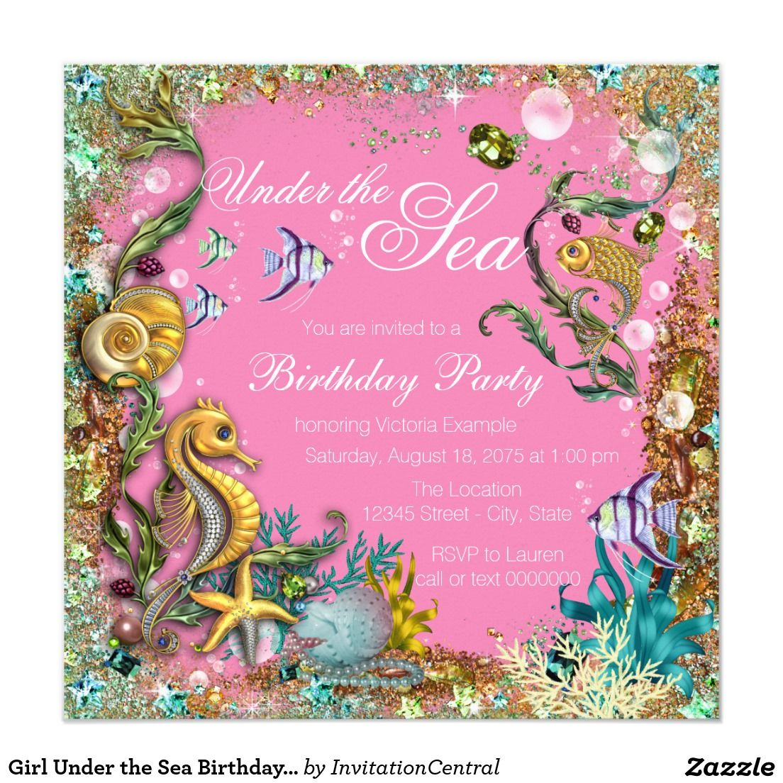 Girl under the sea birthday party invitation baby delvalle baby