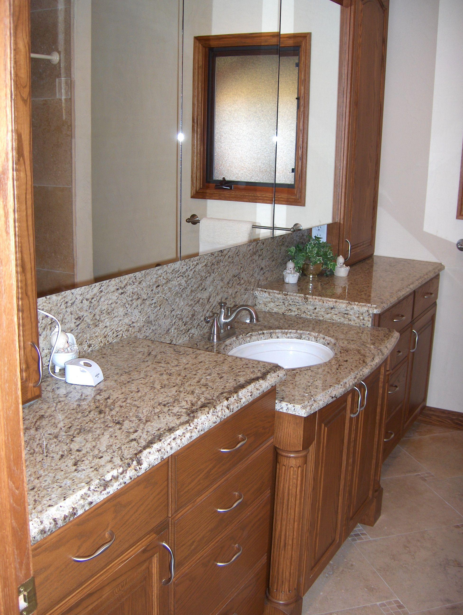 Bathroom Remodel: Multi Level Counter Tops; Stone Counter Tops