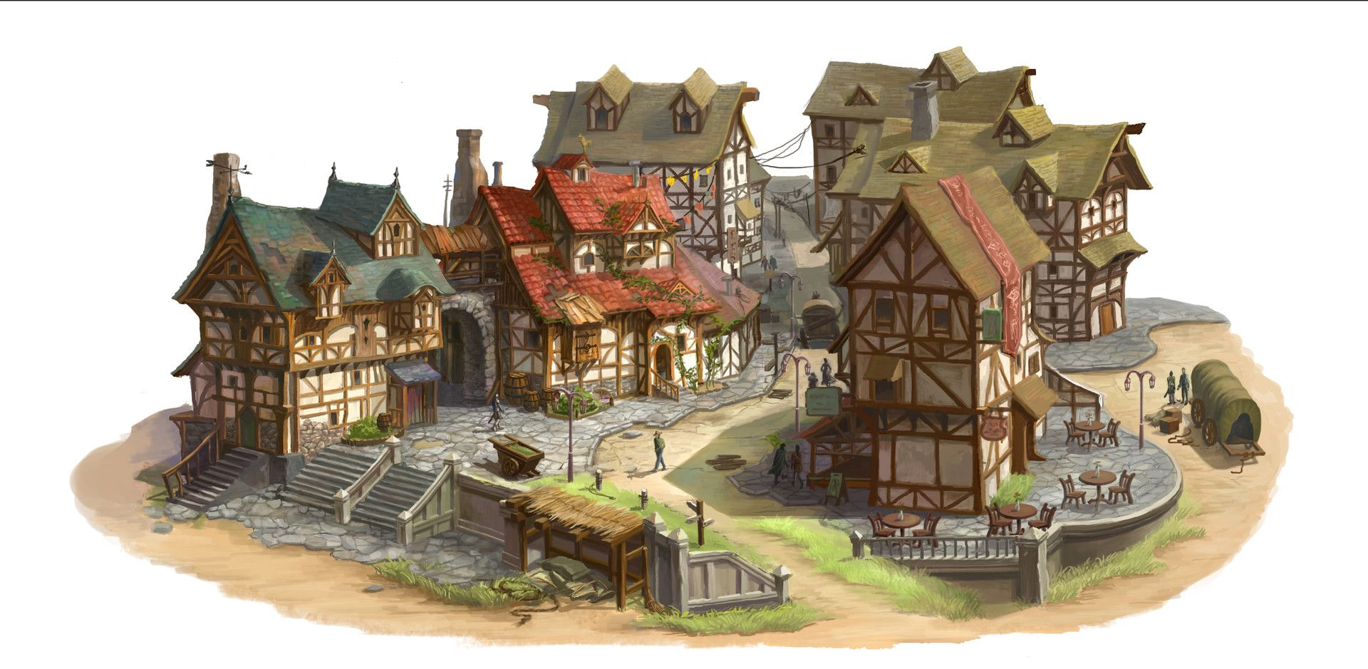 Artstation Medeival Village El Wie Fantasy Village Medieval Artwork Fantasy Concept Art