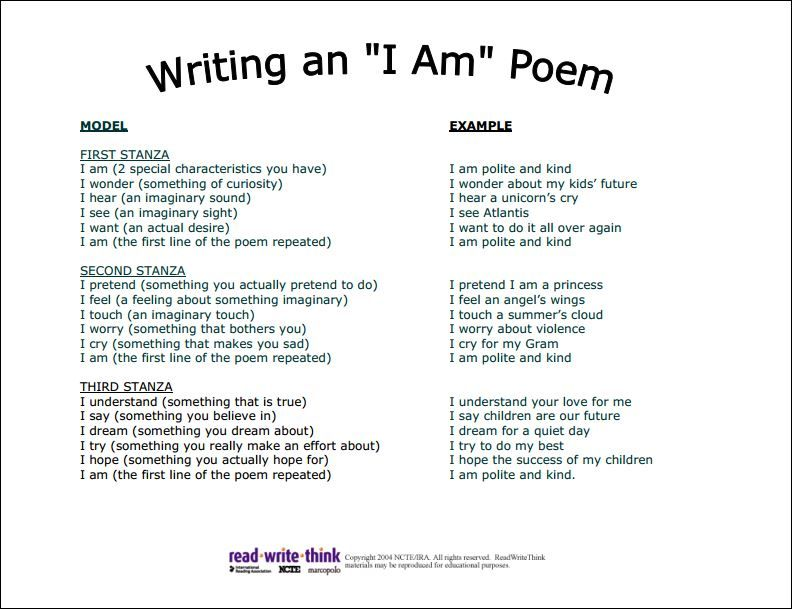 Directions for writing an i am poem have students fill