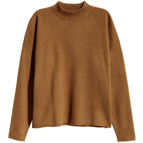 H&M Mock Turtleneck Sweater $23.99 (195 NOK) ❤ liked on Polyvore featuring tops, sweaters, jumpers, h&m tops, brown sweater, h&m jumper, h&m sweater and brown tops