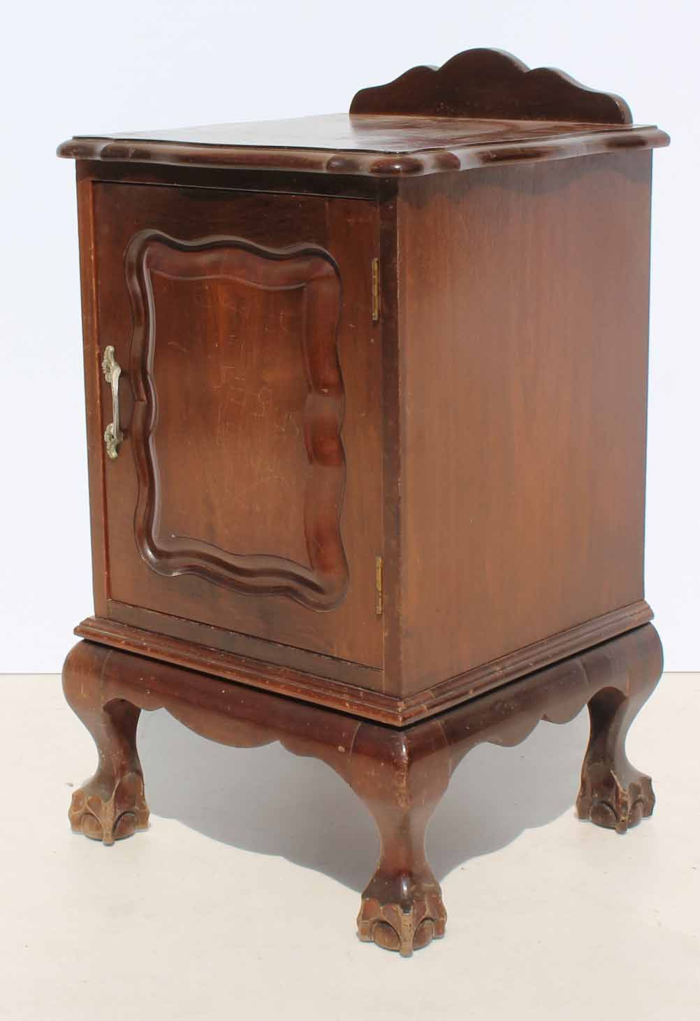 Condition Used Vintage Imbuia Ball And Claw Bedside Cabinet