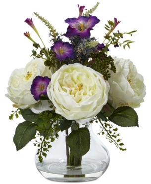 White Nearly Natural 1175-WH Peony and Orchid Silk Flower Arrangement