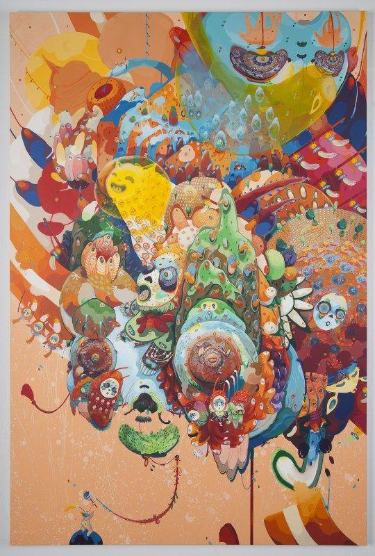 mi ju, painting, illustration, korea, dreamlike, surreal, detail, colorful, explosion, energy, upper playground