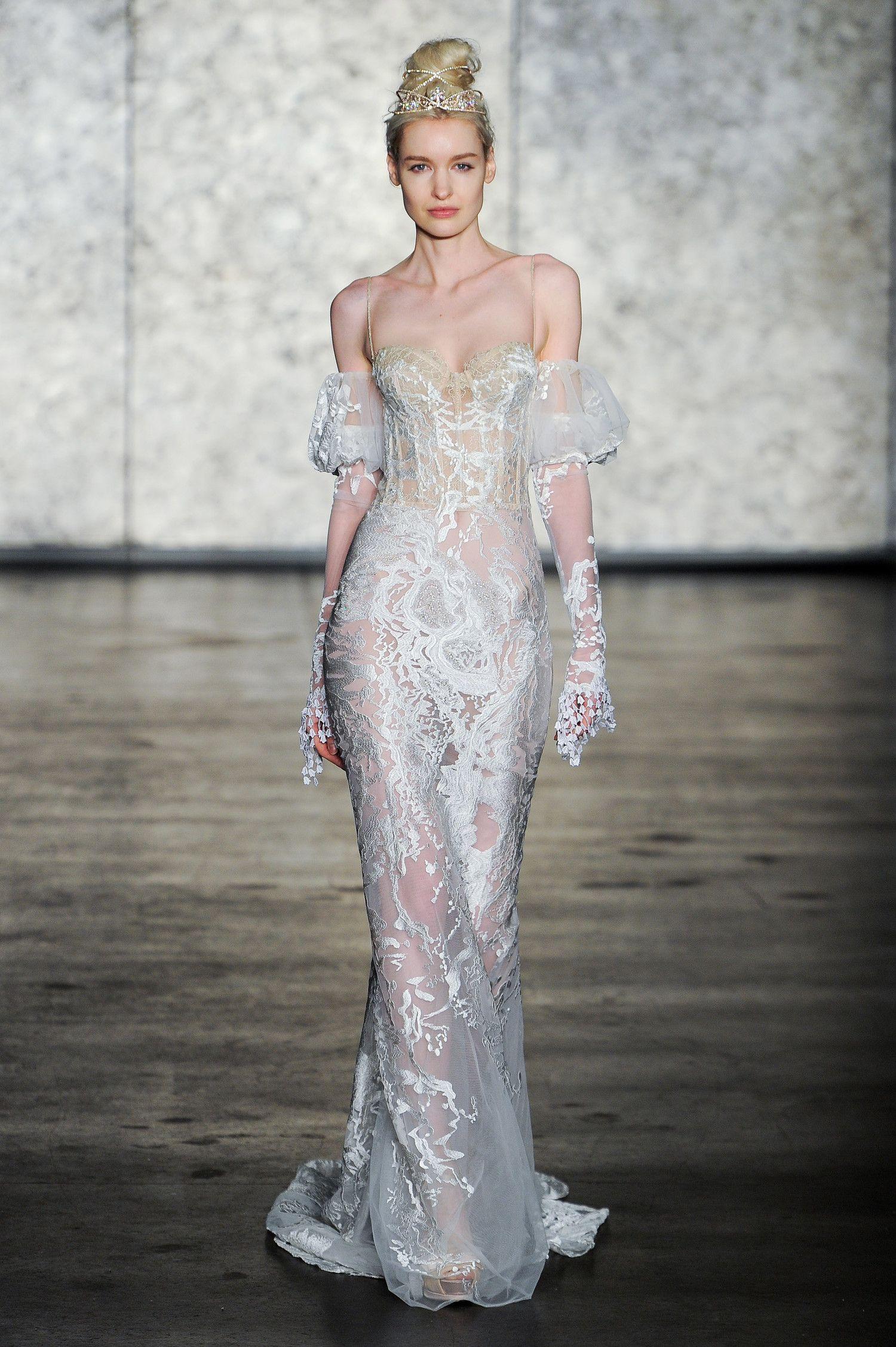 Cold-shoulder sheer wedding dress with bustier top | bridal ...