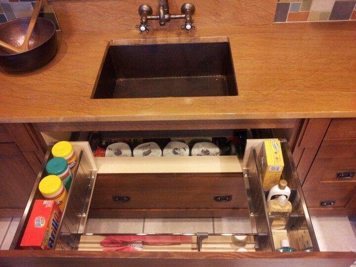 Best idea ever! Storage drawers under the sink for all your cleaning ...