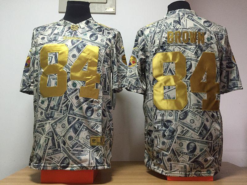 bd6c791b5cf Nike Steelers 84 Antonio Brown Grey US Dollar Fashion Limited Jersey ...