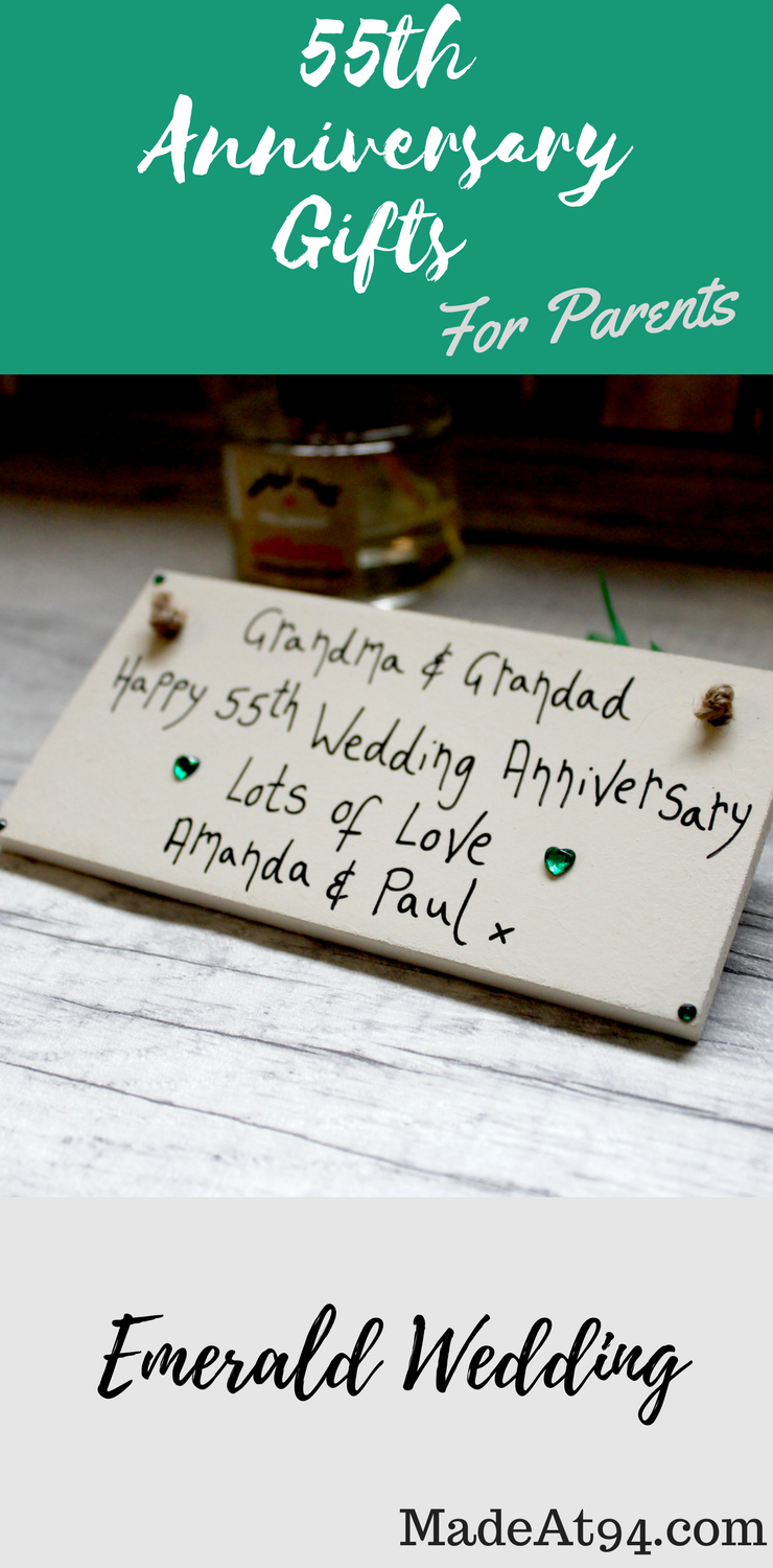 Personalised Cream Emerald 55th Wedding Anniversary Gifts Plaque