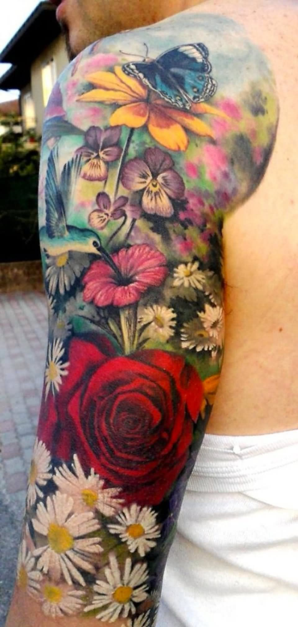 Colorful Floral With Butterfly Tattoo Design For Men Half Sleeve