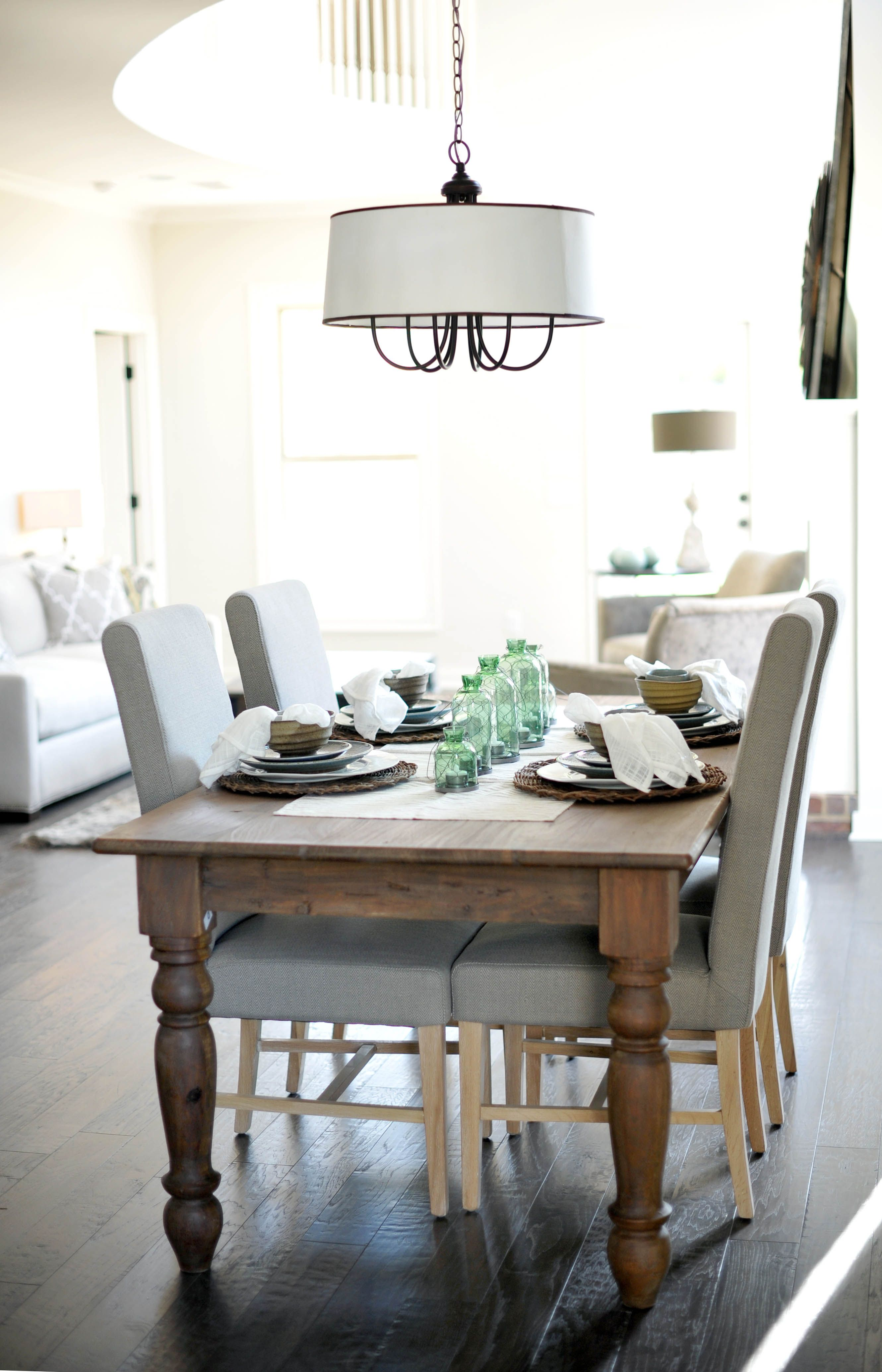 Traditional table design but with a rustic finish they sell it at