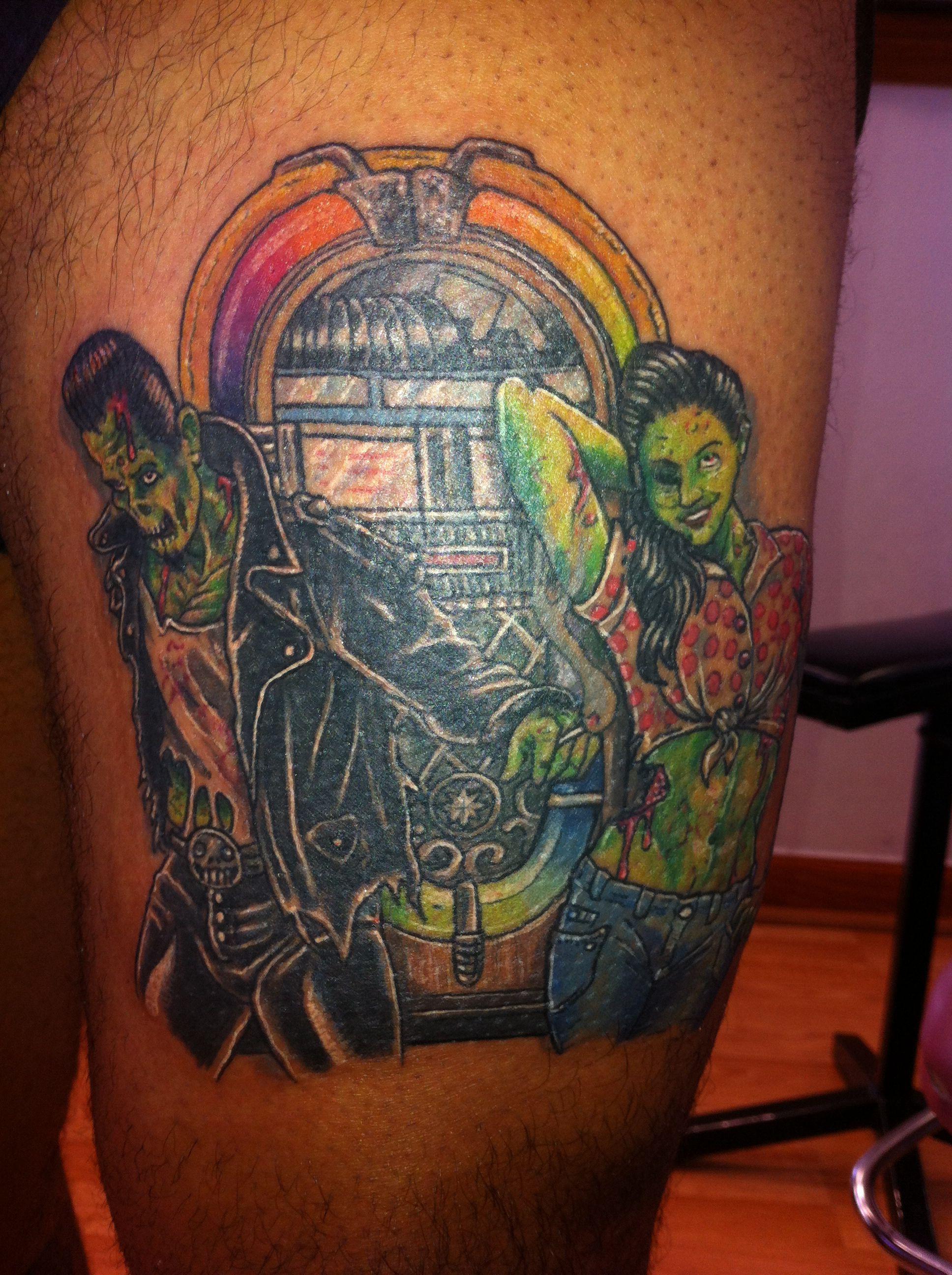 Rockabilly Tattoo Vintage 50s Jukebox Tattoo Zombie Tattoo