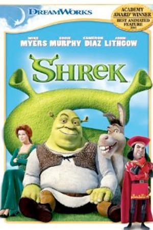 Shrek featuring the voice talents of Mike Myers, Cameron Diaz, and Eddie Murphy