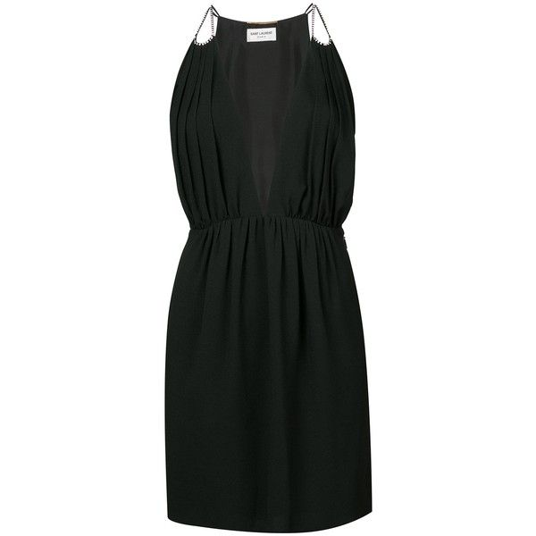 halter-neck fitted dress - Black Saint Laurent
