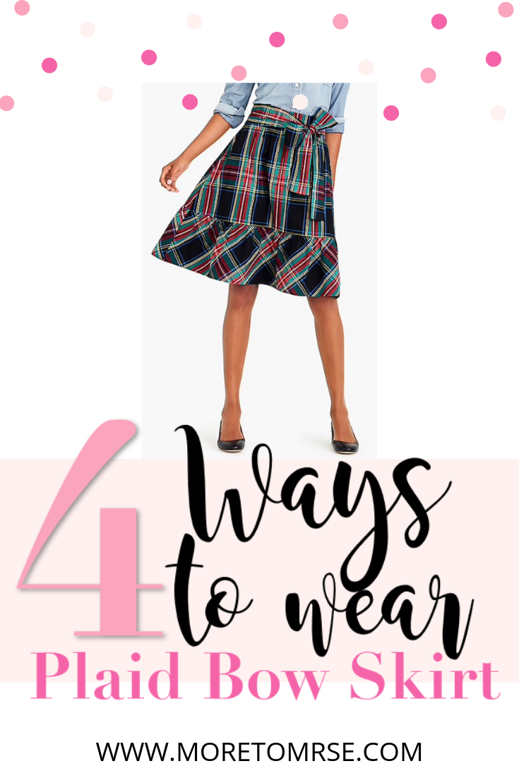 8a42abf6d6 J.Crew Factory's Big Bow Skirt in Tartan Paid is the perfect piece for all  your holiday outfits! Add a red blazer, black blazer, a chambray top and a  ...