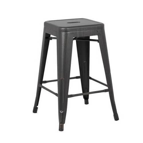 Distressed Black Backless Metal Barhocker mit einem Set von 2, 24 ""