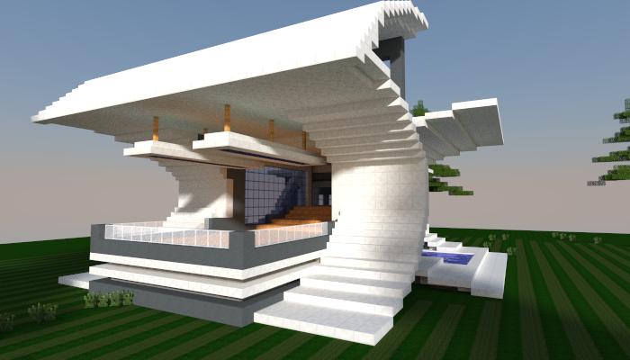 Minecraft Futuristic House Design Rumah Joglo Limasan Work
