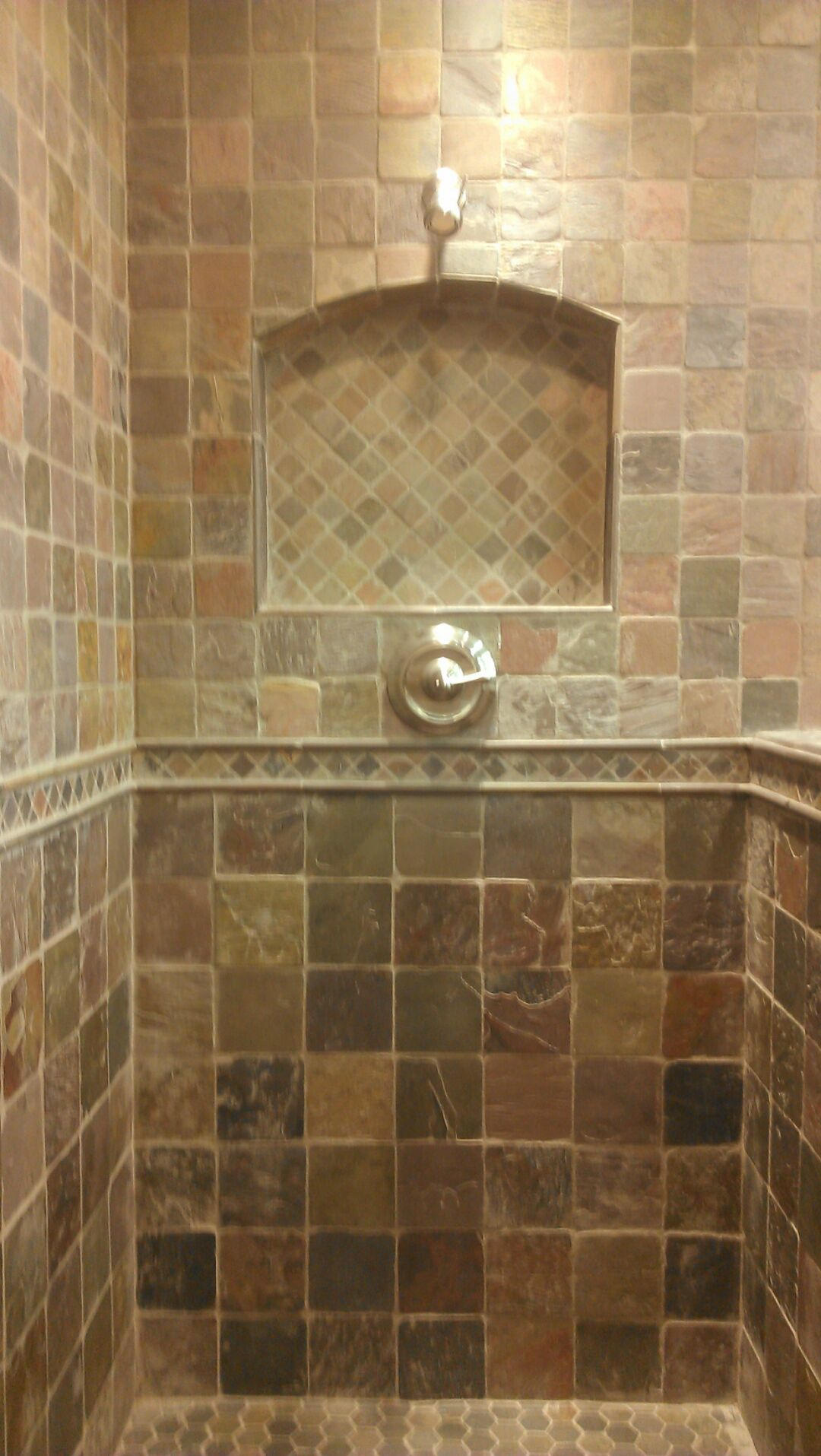Shower niche designs travertine shower with a niche and for Travertine tile designs