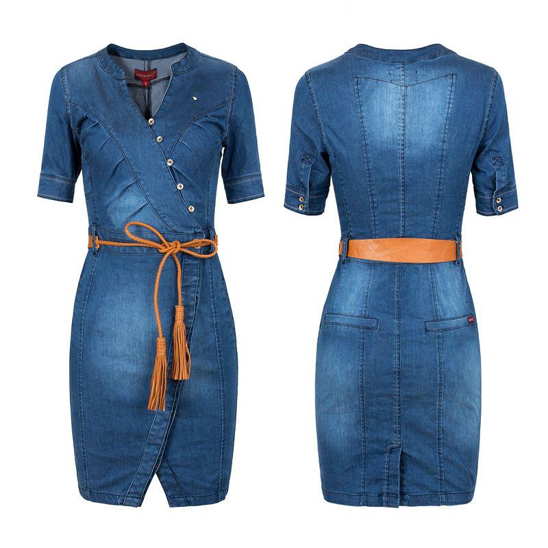 en cuello Grandes Sexy Jeans con Denim Vestido Jeans vaqueros Vestidos Azul de Mujer verano Dress del corta Mujer Casual Tallas China V Vestido manga 2015 z5wq6xv6