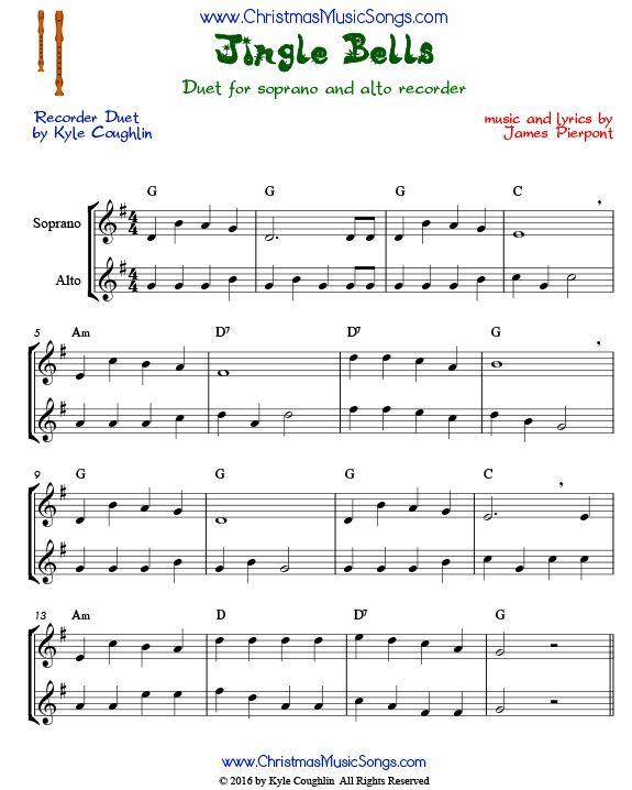 Free Christmas Violin Sheet Music O: Jingle Bells Duet For Recorders.