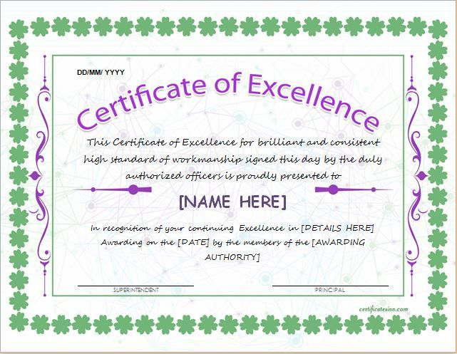 Certificate of Excellence Template for MS Word DOWNLOAD at   - best of recognition award certificate wording