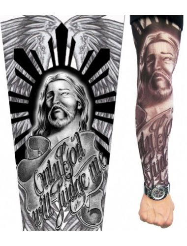 Show of your attitude and muscles with Jesus 2.0 Tattoo Sleeve   Tattoo Sleeves   Accesories   StringsAndMe