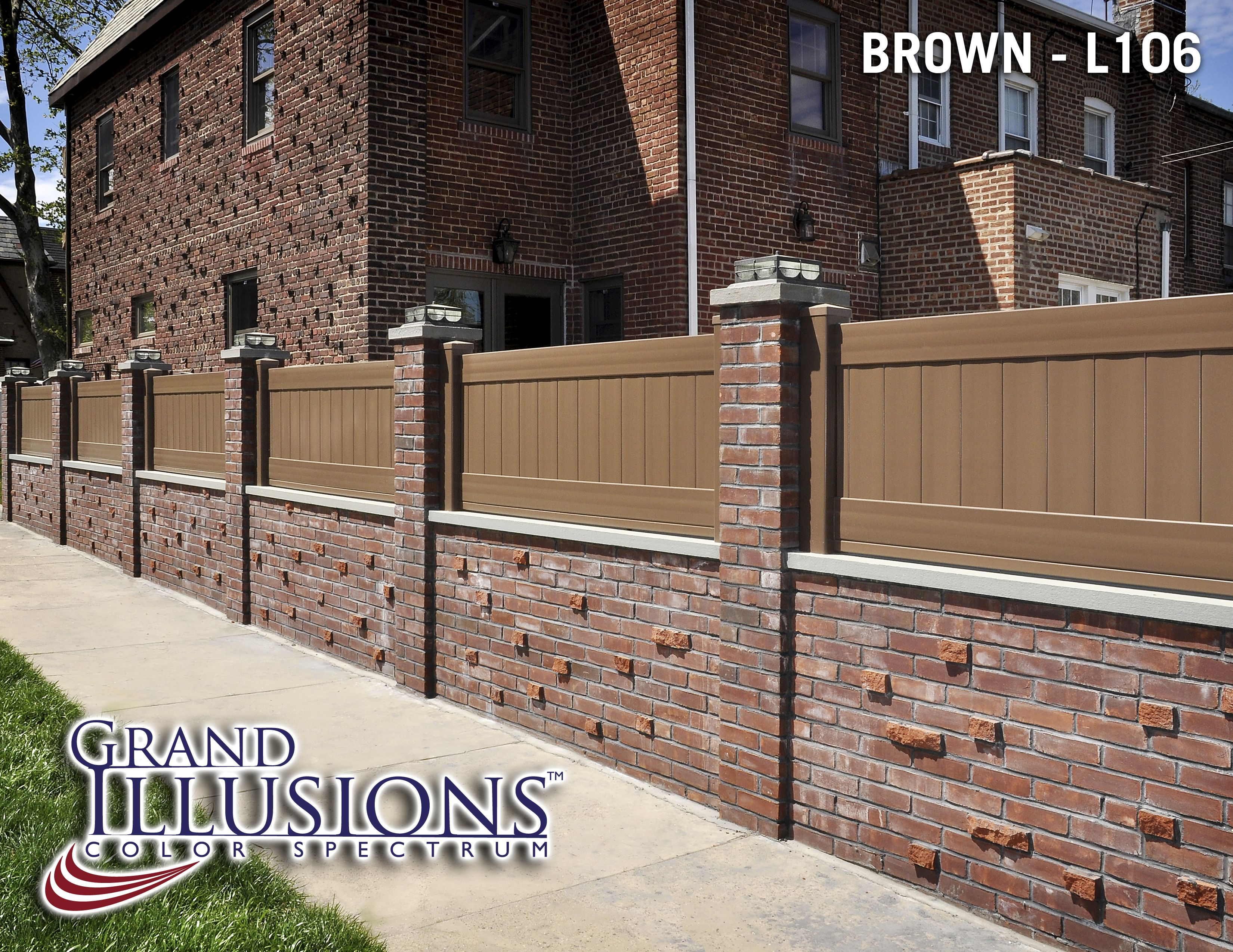 Vinyl Fence On Top Of Brick Fence Since The Existing Fences Are Too Short Vinyl Privacy Fence Vinyl Fence Wood Grain Vinyl Fence