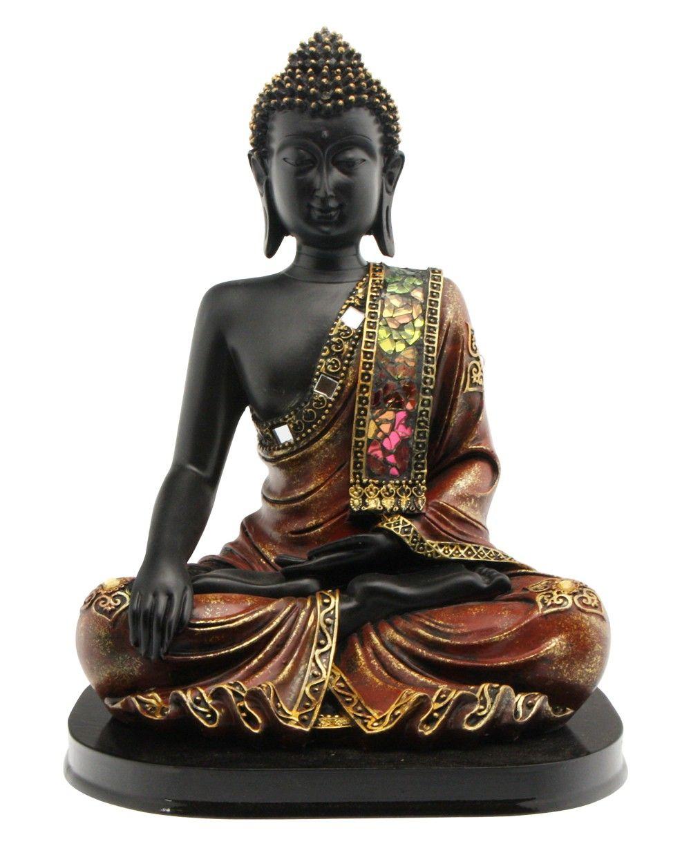 Black Buddha Statue with Mosaic Design on a Base - Buddha Statues
