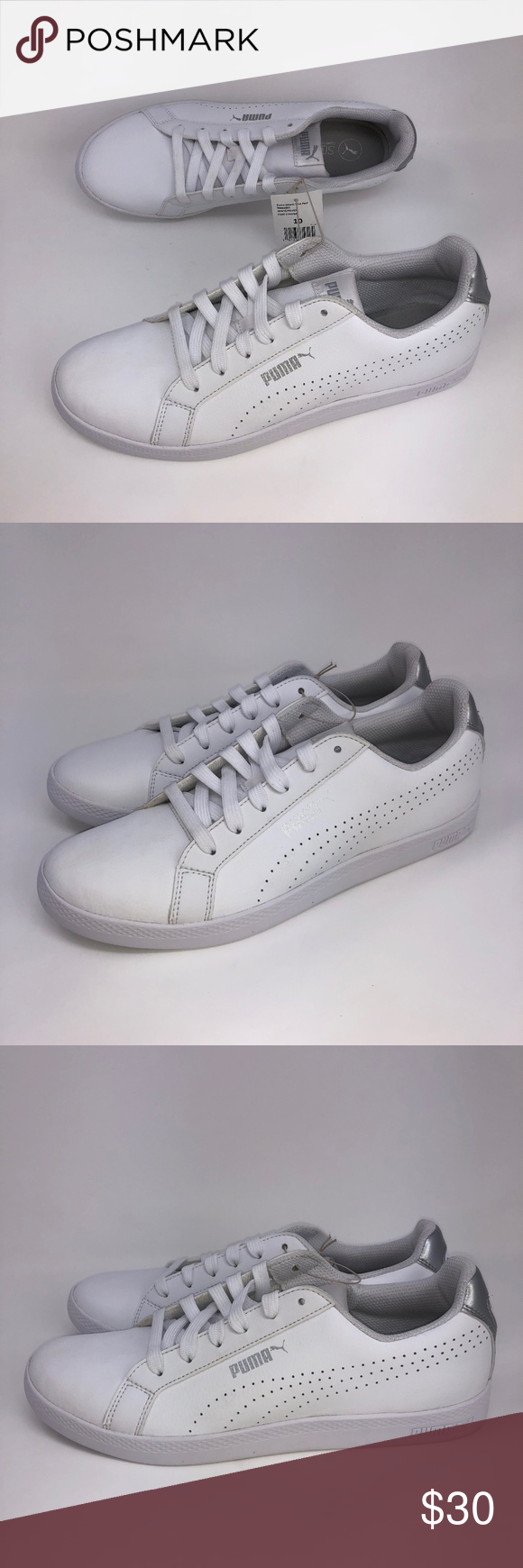 6986d3188e5e Puma Women s Smash Perf Met Shoes White Size 8-10 Puma Women s Smash Perf  Metallic Shoes White Silver Size 10 Rubber sole Shaft measures  approximately ...