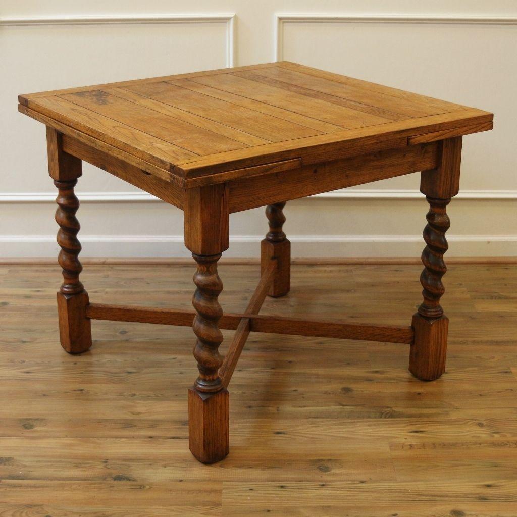 Antique Dining Table Barley Twist Draw Leaf English Oak Pub Table