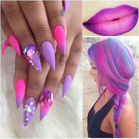 Neon Pink and Purple Ombre Stiletto Nails, Lips and Hair | toes an ...