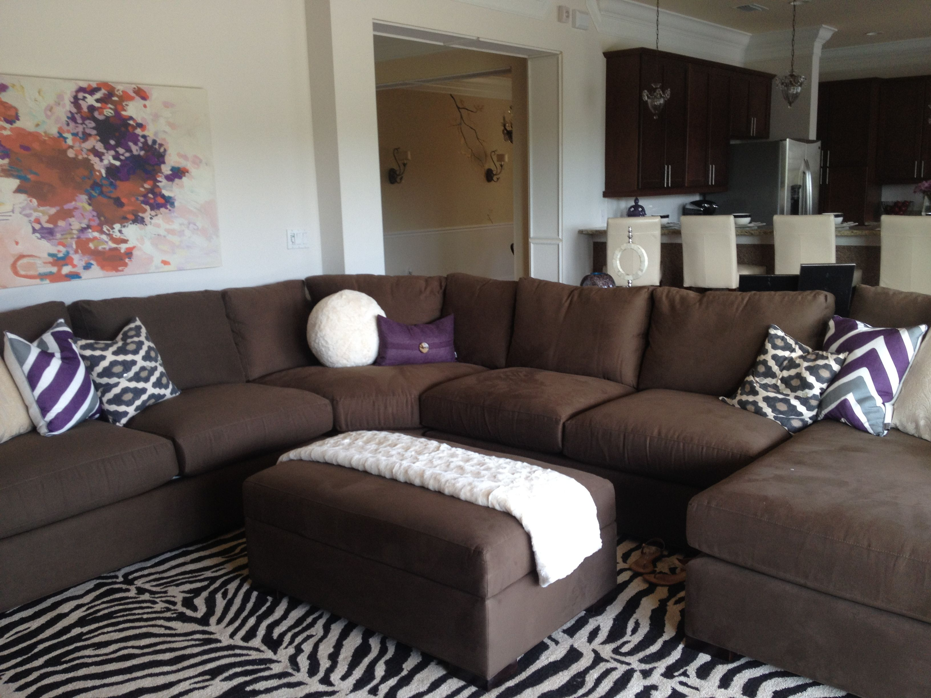 Living Room Zebra Rug Sectional Couch