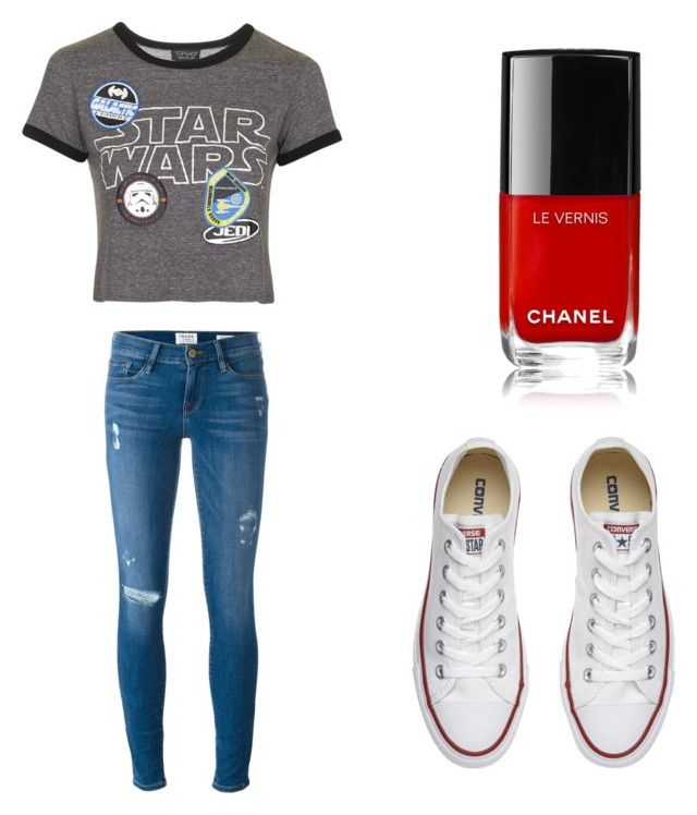 """""""Outfit 953"""" by that-girl-j ❤ liked on Polyvore featuring Topshop, Frame Denim and Converse"""