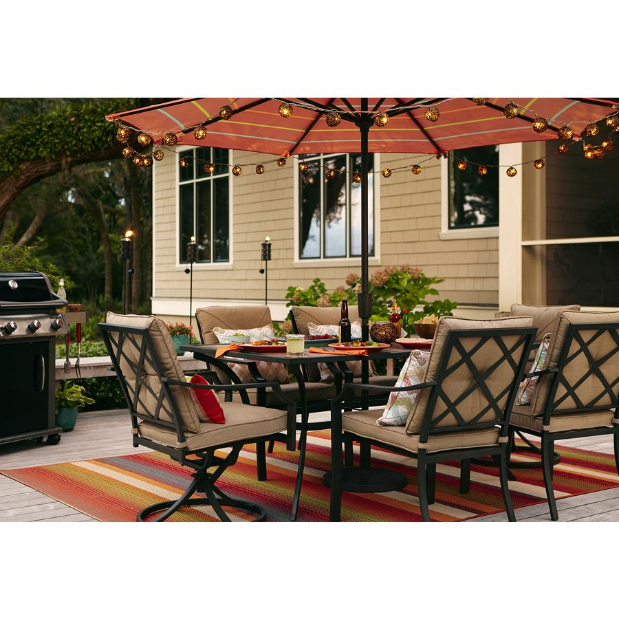 Shop Garden Treasures Vinehaven 40 In W X 64.5 In L Rectangle Steel Dining. Patio  ChairsPatio ...