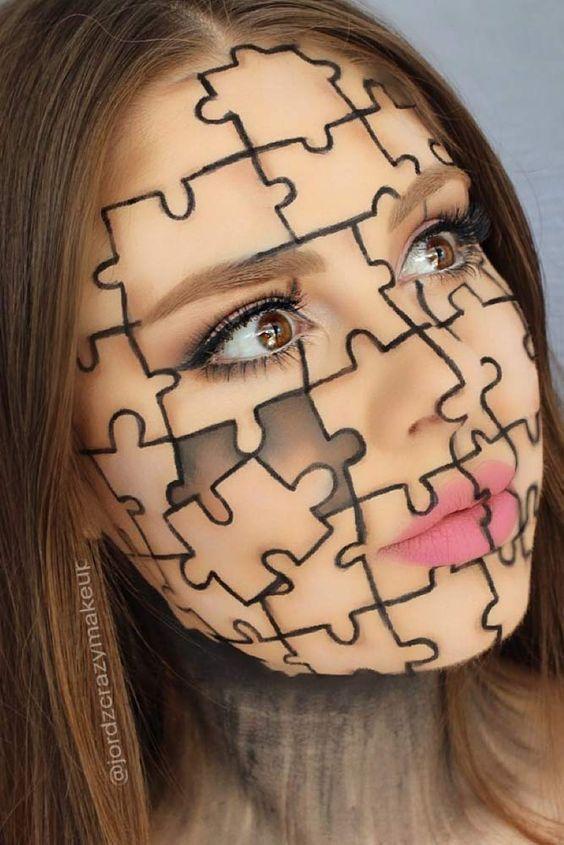 Puzzle Makeup Halloween  Puzzle Makeup Halloween