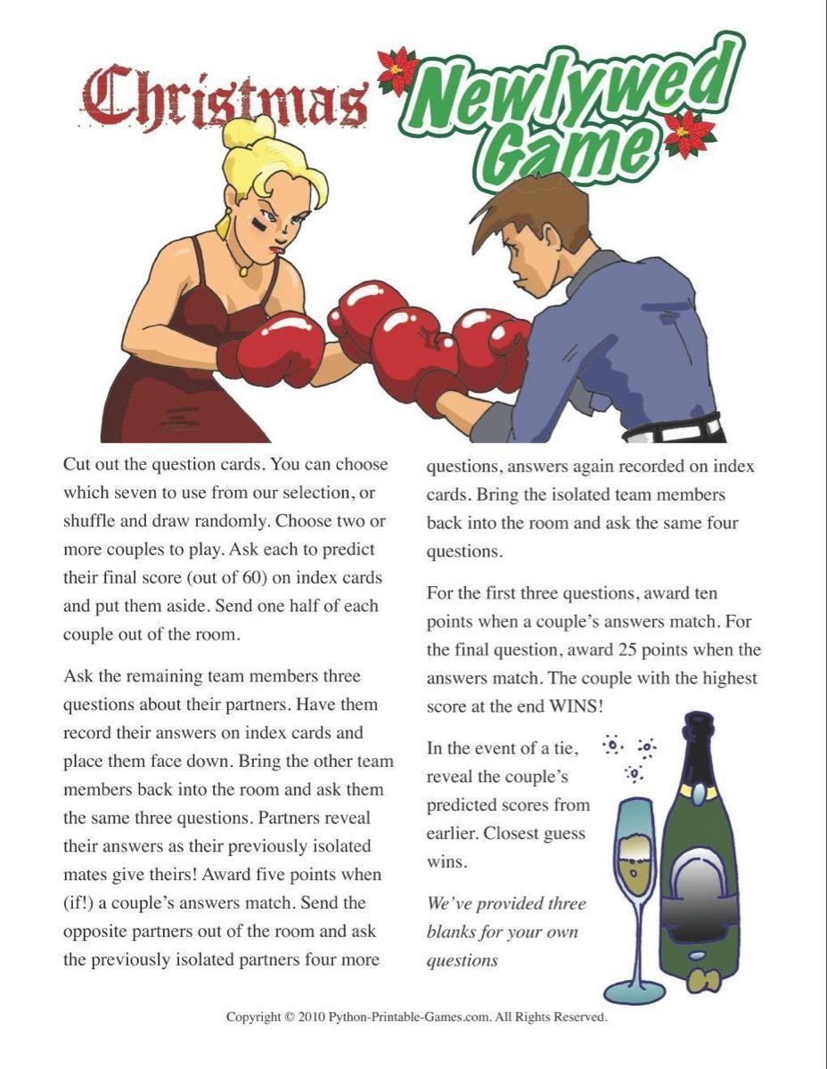 Christmas Christmas Newlywed Game Questions Printable