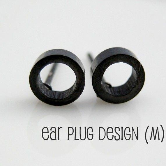 Men S Circle O Stud Earrings Black Steel Round Earrings Male