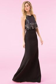 #132 BLACK NEOPRENE INVERTED NECKLINE GOWN WITH JEWEL EMBELLISHED SEQUIN EMBROIDERED CHANDELIER BODICE AND LINKED METAL DETAIL
